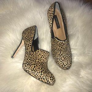 Ann Taylor calf hair leopard Bootie heel size 6.5